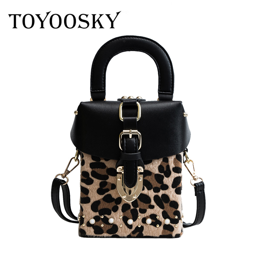 ea56e6cc8887 Detail Feedback Questions about TOYOOSKY Personality Leopard Box Shape  handbag rivets shoulder bag ladies casual totes fashion vintage crossbody  messenger ...