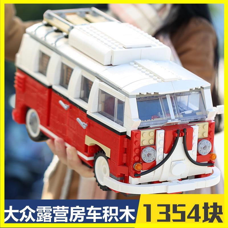 где купить New LEPIN 21001 1354Pcs Creator VW T1 Camper Van Model Building Kits Bricks Toys Compatible 10220 Gifts technic boy car по лучшей цене