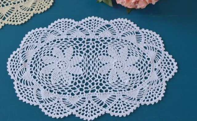 Online Shop New Oval Cotton Crochet Tablecloth White Handmade Table