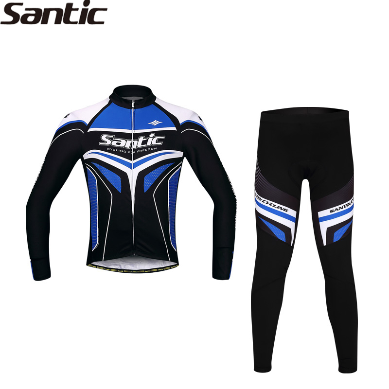 SANTIC MTB Cycling Bicycle Long Sleeves Jersey+4D Padded Pants Trousers Windproof RTS Racing Team Professional  Bicycle Suit rovertime шахматы rovertime rts 56 d