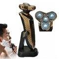 De Oro de lujo Famosa Marca 4D Para Hombre máquina de Afeitar Eléctrica máquina de Afeitar + Hoja De Repuesto Lavable Barba Trimmer máquina de Afeitar Eléctrica de Afeitar
