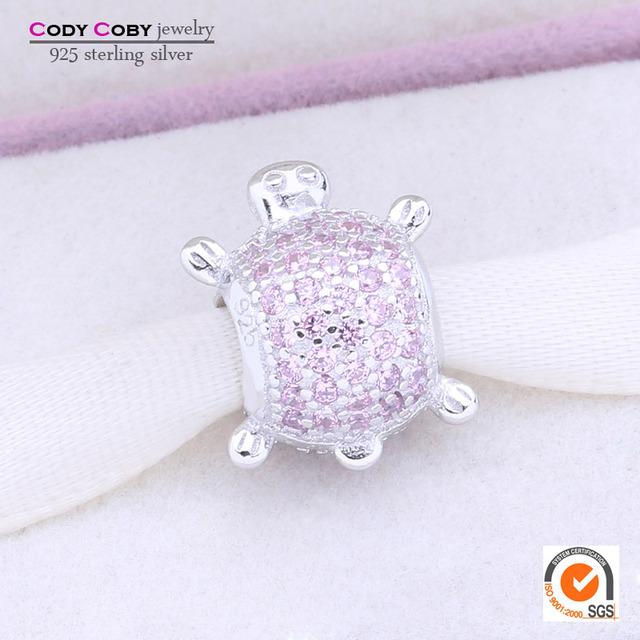 925 sterling silver sea turtle charm with pink cubic zirconia animals beads fits original pandora bracelet for girl fine jewelry