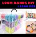 12000 pcs Louco e divertido Rubber Bands Loom Kit DIY Pulseira Bandas Tear Silicone 3 camadas Teares Kit Família Caixa de PVC Caixa