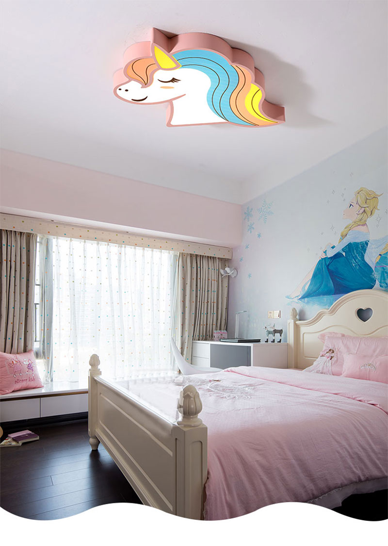 Unicorn kids room light led ceiling lights with remote control cartoon lampshade children room cute ceiling lamp deco child room