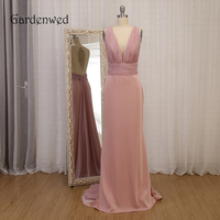Gardenwed Gray Pink Prom Dress Long 2019 New Arrival V Neck Applique Illusion Back Pleated Long Ribbon Chiffon Formal Gowns