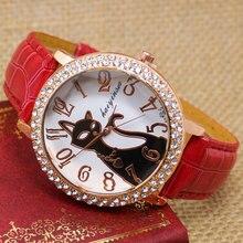 Lovely Black Crystal Cat Quartz Watch