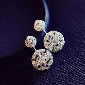 Image 3 - יוקרה מלא מיקרו מעוקב Zirconia פייב דו צדדי חלול כדורי מעיל עגילי טרנדי תכשיטים
