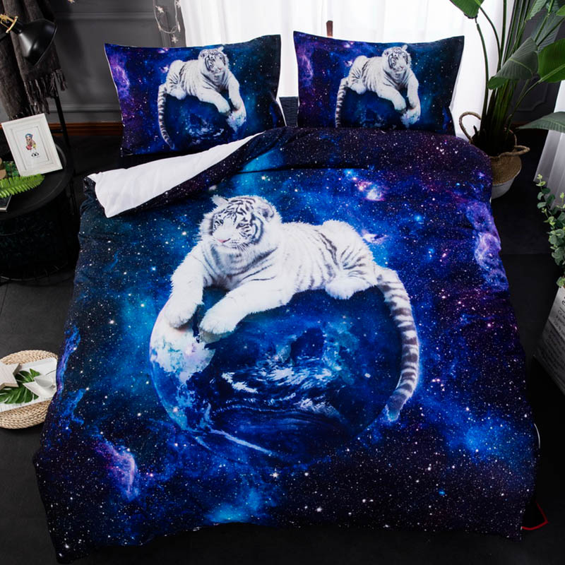 3d Tiger Printed Comforter Bedding Sets Duvet Cover Double Sheet Set Queen King Twin Size 3pcs/lot Home Textile Double Bed Cover