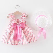 Toddler Baby Kids Girls Floral Ruched Bow Watermelon Princess Dress Clothes Hat 7.16(China)