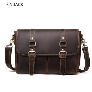 F.N.JACK New Trendy Crazy Horse Leather Briefcase Men's Genuine Leather Handbag Shoulder Bag Messenger Bags Crossbody Bags 2019