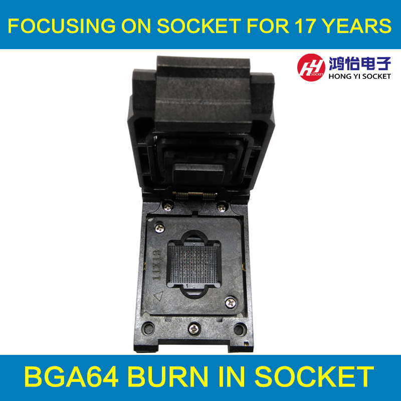 BGA64 1.0MM Burn in Socket IC size 11*13 mm/BGA64 IC Test Socket / FBGA64 burning socket superpro5000 5004 private cx5004 burning fbga64 adapter test