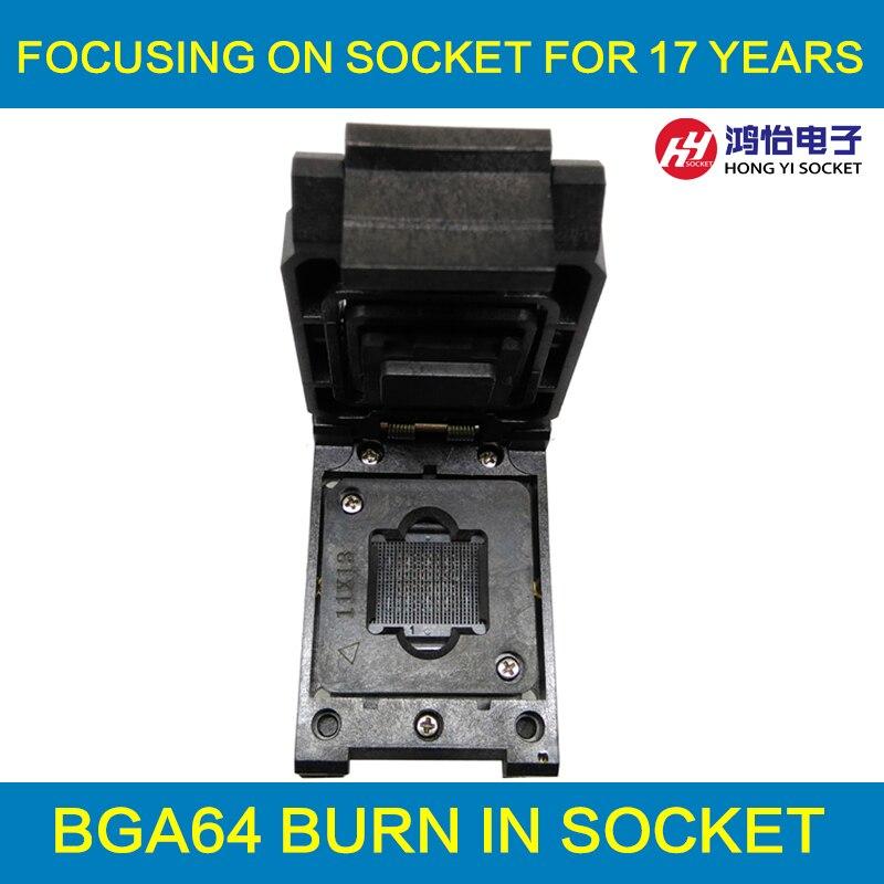 BGA64 1.0MM Burn in Socket IC size 11*13 mm/BGA64 IC Test Socket / FBGA64 burning socket xeltek private seat tqfp64 ta050 b006 burning test