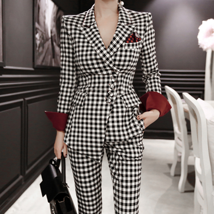 Spring and Autumn suit set women fashion temperament new temperament long sleeves black and white lattice