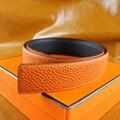 2017 Novo Design de Alta Qualidade Primeira Camada Cowskin Couro Logotipo Original H Cintos Para Homens Cintos de Marca Fivela De Cobre Puro Com Caixa