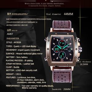 Image 5 - ファッション amst メンズ腕時計長方形 militray スポーツクォーツデュアルディスプレイ男性腕時計防水男性腕時計レロジオ masculino