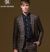 Men Formal Suits Blazers Autumn Retro Brown Plaid Christmas Gifts Super Slim Thicken Business Man Wedding Groom Blazer Jackets