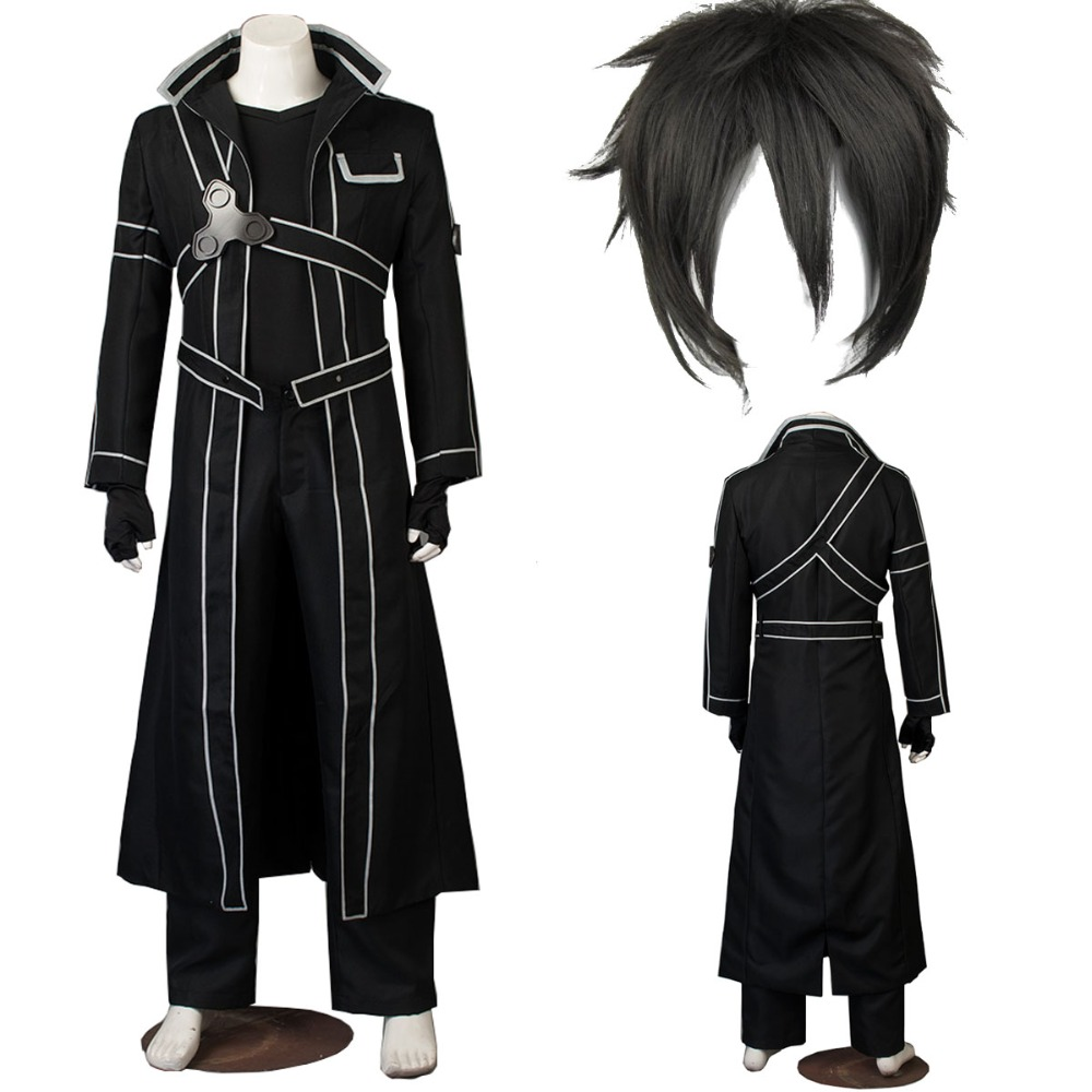 Anime Sword Art Online cosplay Kirito Kazuto Kirigaya Cosplay Costume high quality any size outfit custom made