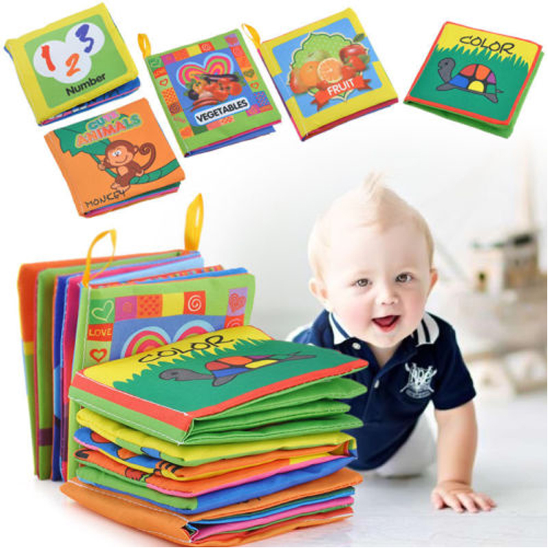 Baby Educational Toys Soft Cloth Books Infant Educational Stroller Mobile Rattles Toy Newborn Kids Toys Fabric Books 0-12 Months