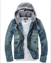 New coming Korean fashion style slim vintage wash zipper knitted detachable hooded cotton demin cloth men jacket coat H3863