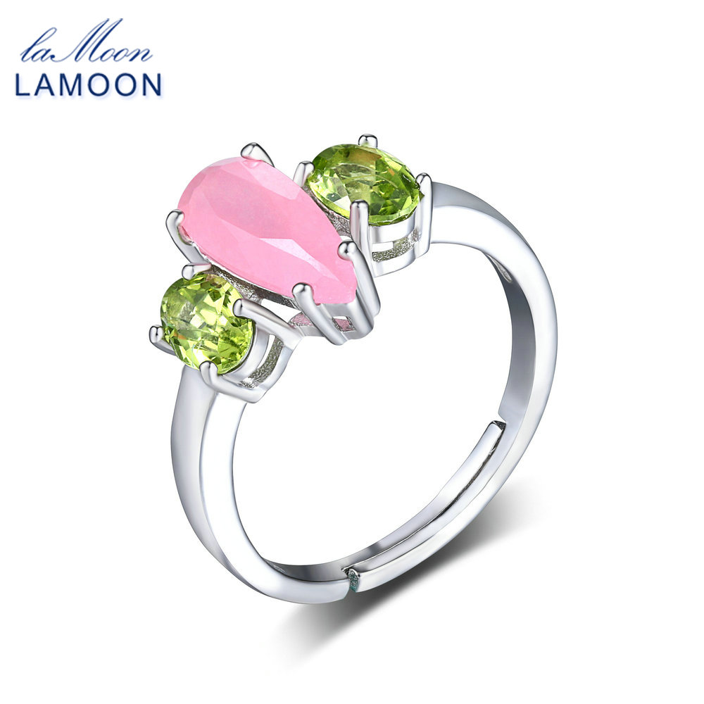 LAMOON 2018 Natural Rose Quartz & Peridot S925 Adjustable Rings Silver Color 925-Sterling-Silver Gemstone Fine Jewelry LMRI064