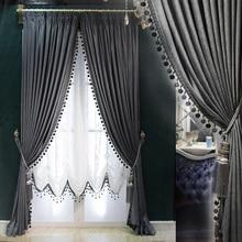Пользовательские шторы высокого качества роскошные европейские утолщаются затенение сплошной серый Италия бархат ткань затемненные Тюль E912