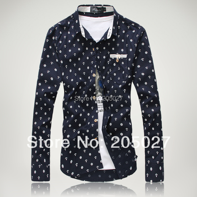89f506c8feaa0 spring autumn plus size 3xl long-sleeve shirts men fashion anchor flower  voyage pattern casual