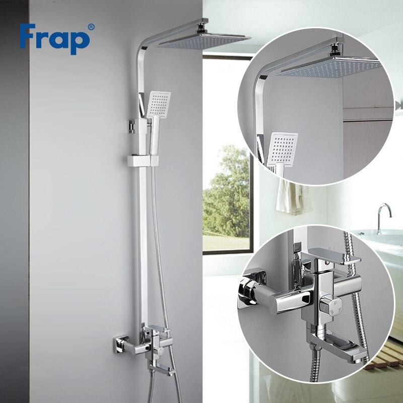 Frap хром краны душа комплект смеситель для ванной кран ванна, тропический Душ коснитесь ванной ABS насадка для душа нержавеющей бар душ F2420