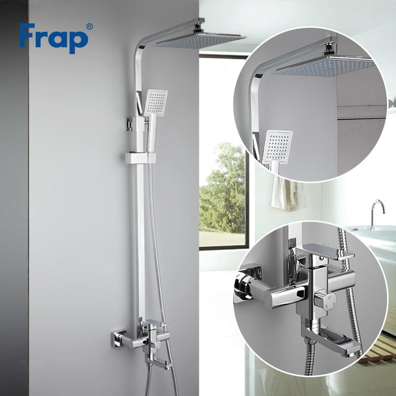 Frap Chrome robinets de douche mélangeur pour baignoire robinet de bain pluie douche robinet salle de bains ABS tête de douche de douche inox bar F2420