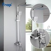 Frap хром краны душа комплект смеситель для ванной кран ванная, душевая лейка Нажмите Ванная комната Лейка для душа из АБС нержавеющей держатель для душа F2420