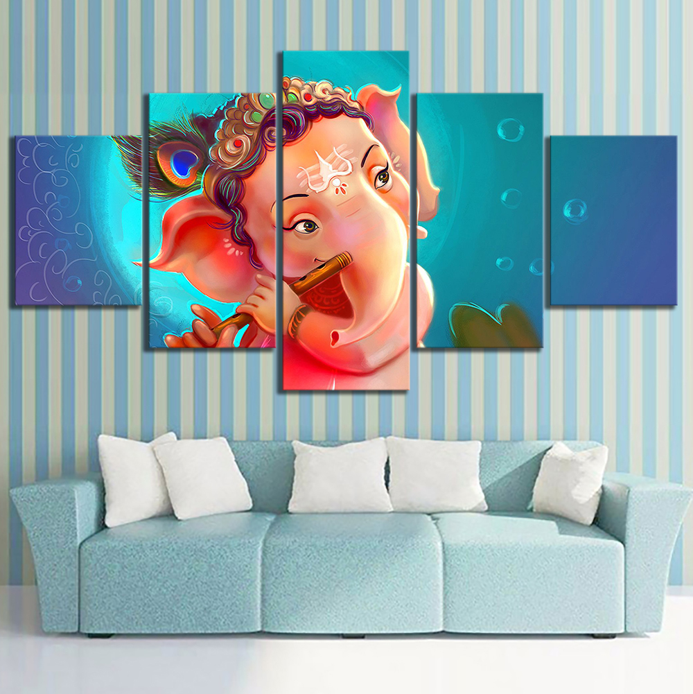 5 Piece Ganesha Buddha Cartoon Drawing Artwork Canvas Paintings Wall Art for Home Decor 2