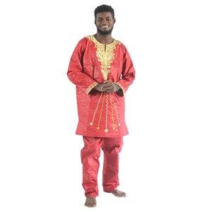 Image 4 - MD 2020 แอฟริกัน Bazin Riche Mens แอฟริกันแบบดั้งเดิมเสื้อผ้าเสื้อผ้าแขนยาวกางเกงชุด afrikanische herrenbekleidung PH47