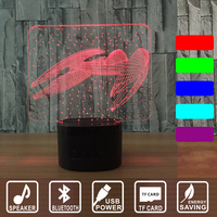 New Fighter 3D Night Light LED Bluetooth Fighter Table Lamp 7 Color Changing USB Indoor Lamp