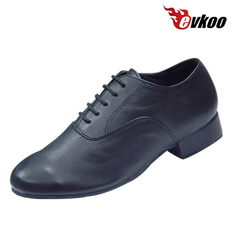 Evkoodance Brand Child Size US1-13.5 Soft Sole Mens Black Genuine Patent Leather Boys Latin Ballroom Dance Shoes Evkoo-368