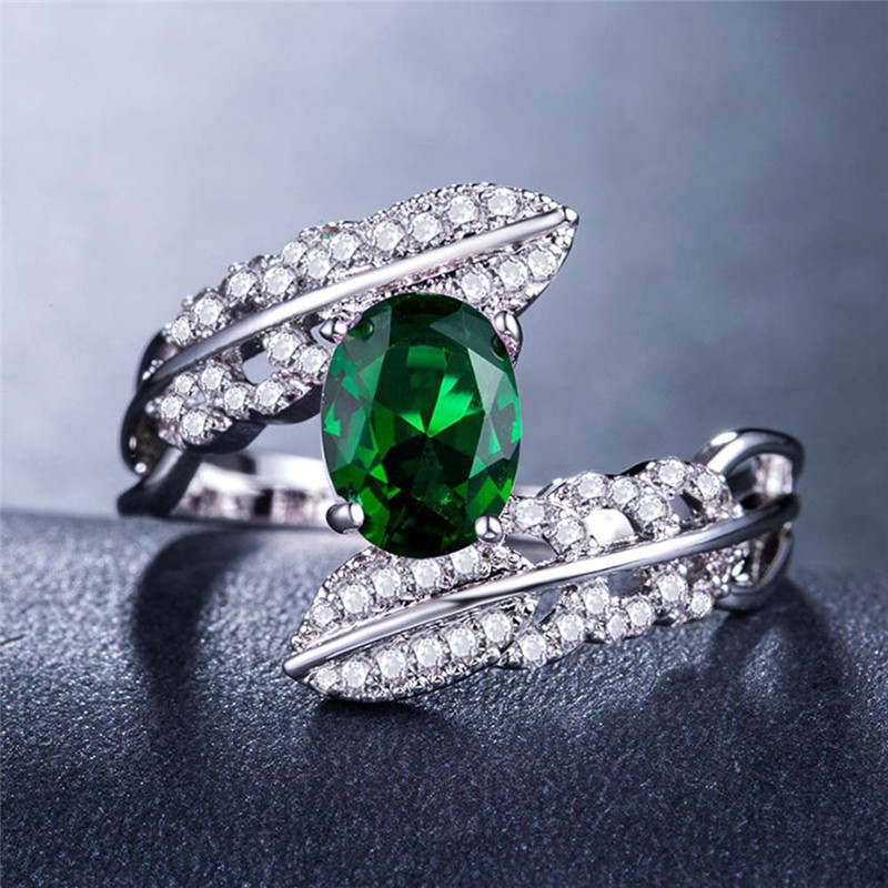 2018 Fashion Luxury Vintage Sliver Color Green Zircon CZ Crossed Rings For Women Wedding Rings Jewelry