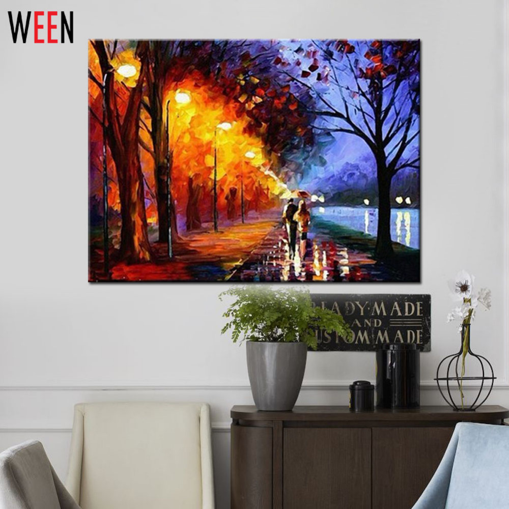 Unframed Landscape Pictures By Numbers Raining Walk DIY pintura al óleo digital para colorear por números Canvas Art For Home Decor