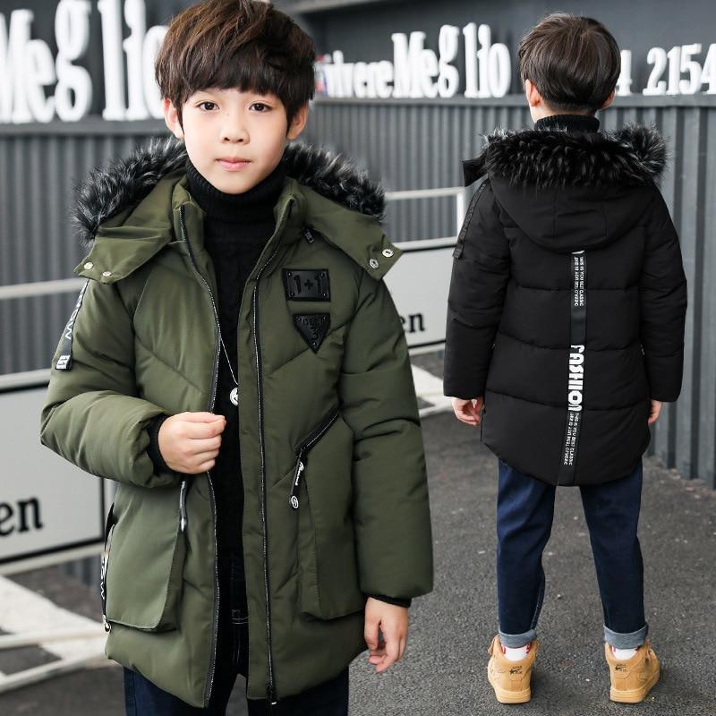 Boys Padded Jacket hooded Fur collar 2017 winter big boy zipper casual jacket boby children's clothing Teenagers cotton coat