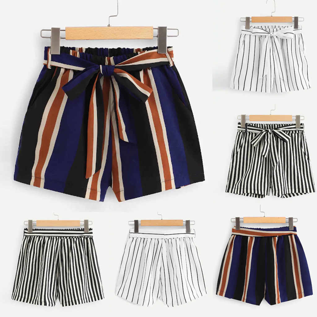 2019 Fashion Shorts Women Stripe Bandage Pocket Wide Leg Casual Pantalones Cortos Elastic Waist Spodenki Damskie Short Feminino