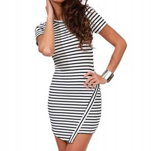 Uncinba 2017 New Arrive Women Dress Striped Short Sleeve Summer Dress O-Neck Slim Casual Style Sheath Mini Dresses