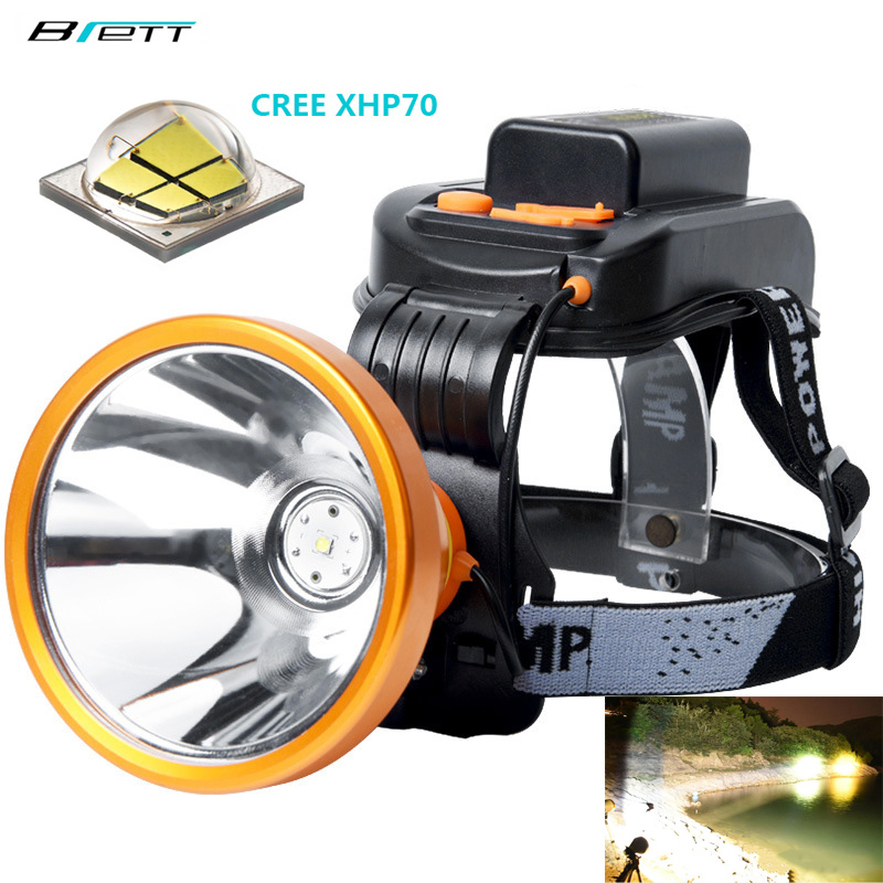 Led Headlight Cree Xhp70 Super Bright White Or Yellow Light Optional Built-in 6*18650 Battery Rechargeable Led Headlamp