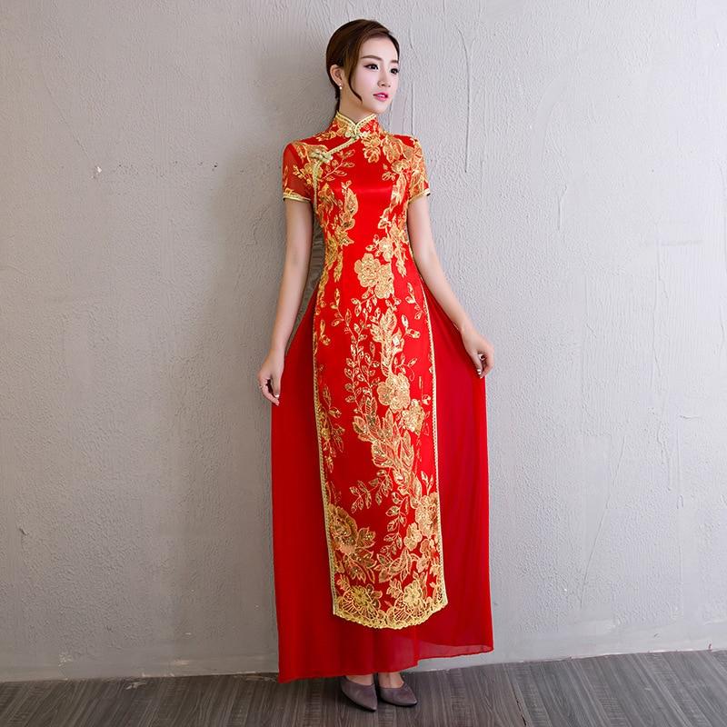 Vestido Oriental Style Dresses Traditional Vietnam Embroidery Cheongsam Ao Dai Dress Women Fashion Qipao Wedding Long Red Gown In Cheongsams From Novelty