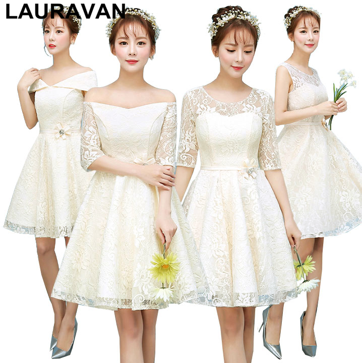 Short Champagne Elegant Girls Bridesmaid Sexy Sleeve Knee Lace Party Dresses Women 2019 Bridemade Dress Teens Ball Gown
