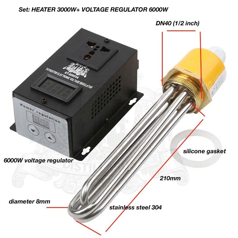 Zestaw: 3.0 kW 6.0kW, 220 V, DN40. Regulator napięcia i podgrzewacz do zbiornika, elektryczna grzałka do wody, element grzejny w Połączenia rurowe od Majsterkowanie na AliExpress - 11.11_Double 11Singles' Day 1