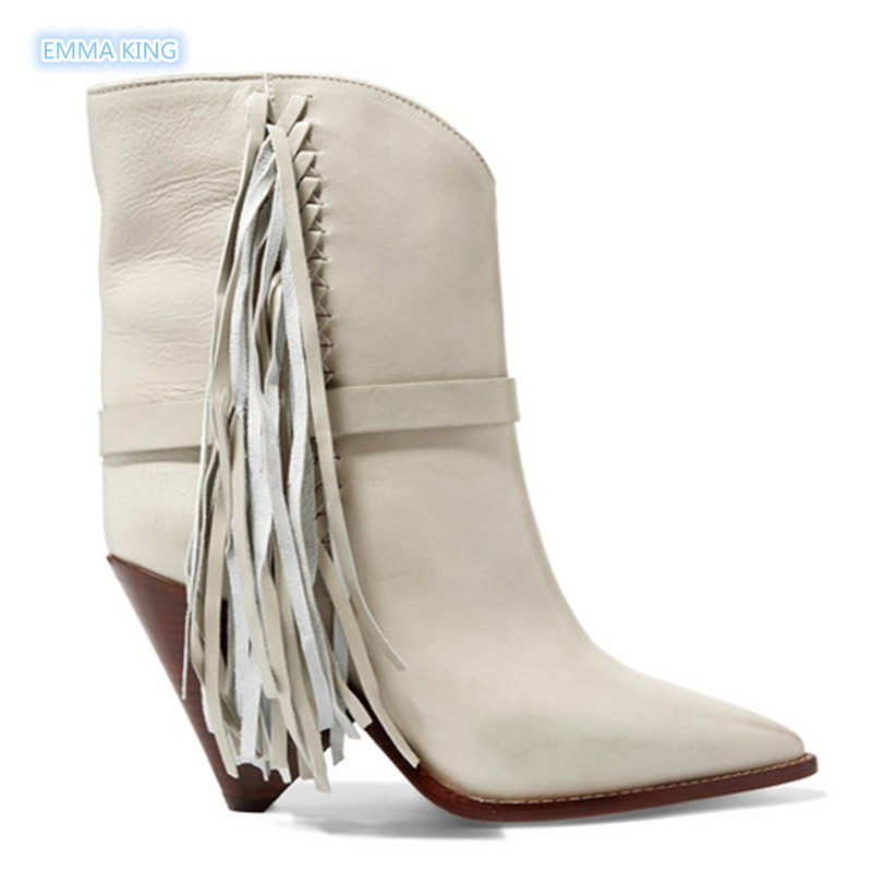 Tacones Punta Zapatos Diseño Mujer Botas Las Solid Medio Pista Señoras Moda Otoño De Cuero Tobillo Sexy Blanco TYqrfnTZv