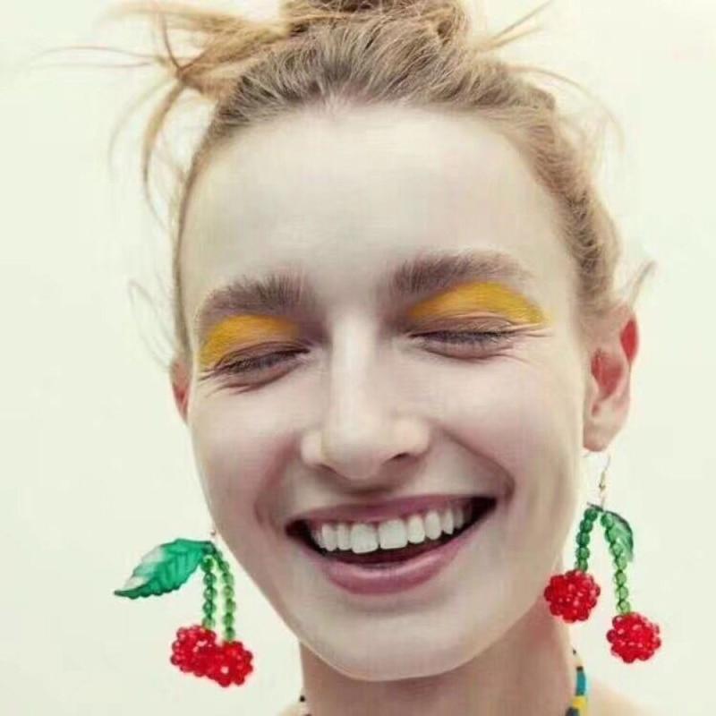 Lalynnly Sweet Fruit Acrylic Beads Cherry Drop Earrings For Women Girls Earrings Jewelry Gift 2019 New Fashion Wholesale E57341