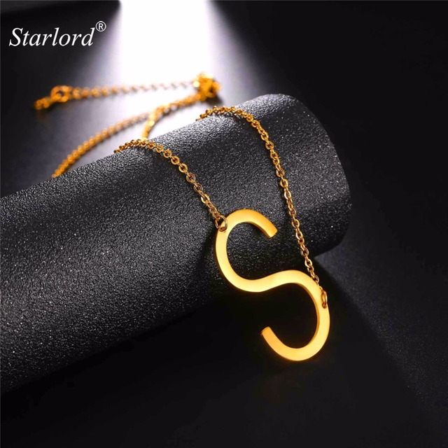 be6bf7f54bc9 Starlord Letter S Pendants&Necklaces For Women Men Stainless Steel Necklace Personalized  Lucky Gift Alphabet Jewelry GP2619