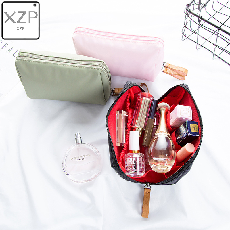 XZP Solid Color Cosmetic Bag Women Makeup Bag And Case Professional Nylon Travel Makeup Bag Organizer Kits Storage Pouch