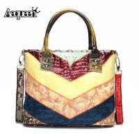 AEQUEEN/новые женские сумки-мессенджеры из натуральной кожи; Лоскутные цветные сумки на плечо; женские сумки через плечо; разные цвета
