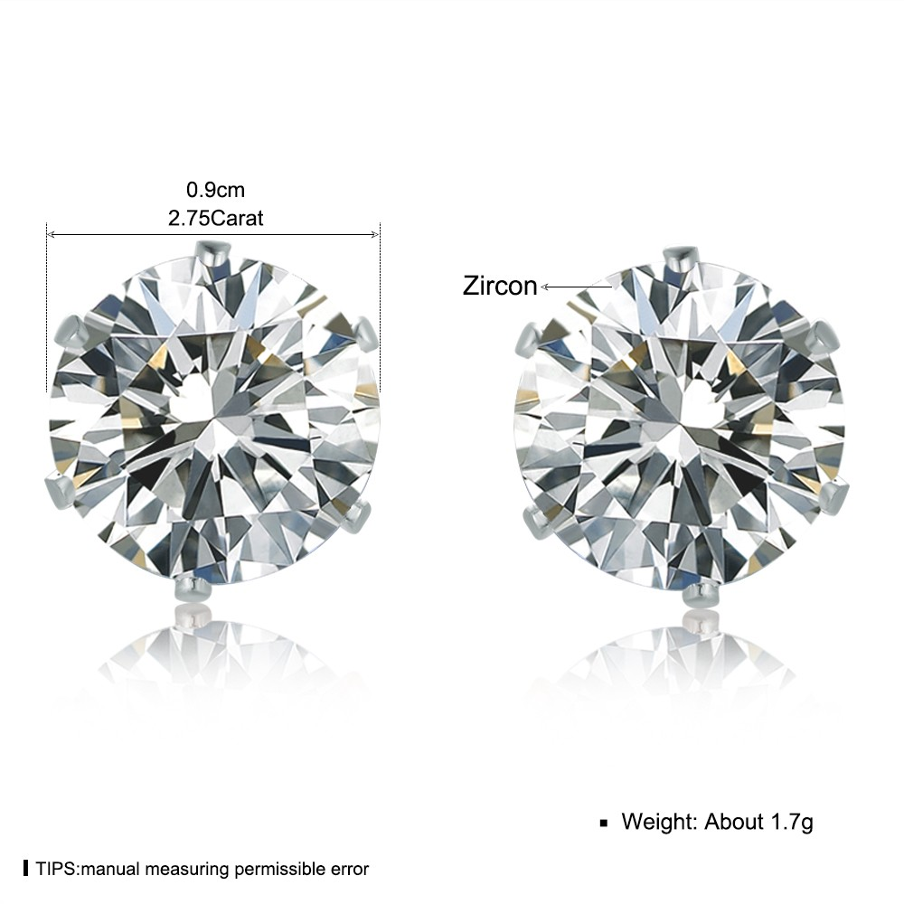 White Crystal Zircon Earrings CZ Crystal Big Round Stud Earrings For Women Girls Men Fashion Jewelry RE-0011