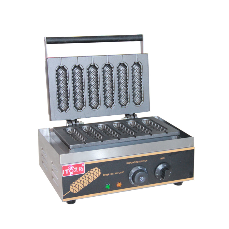 Stainless Steel roasted sausage machine electric French hot dog muffin machine commercial Lolly Waffle Maker Machine Baker Iron lolly waffle baker commercial snack machine stainless steel tower shaped lolly waffle machine with six pcs lolly waffle moulds