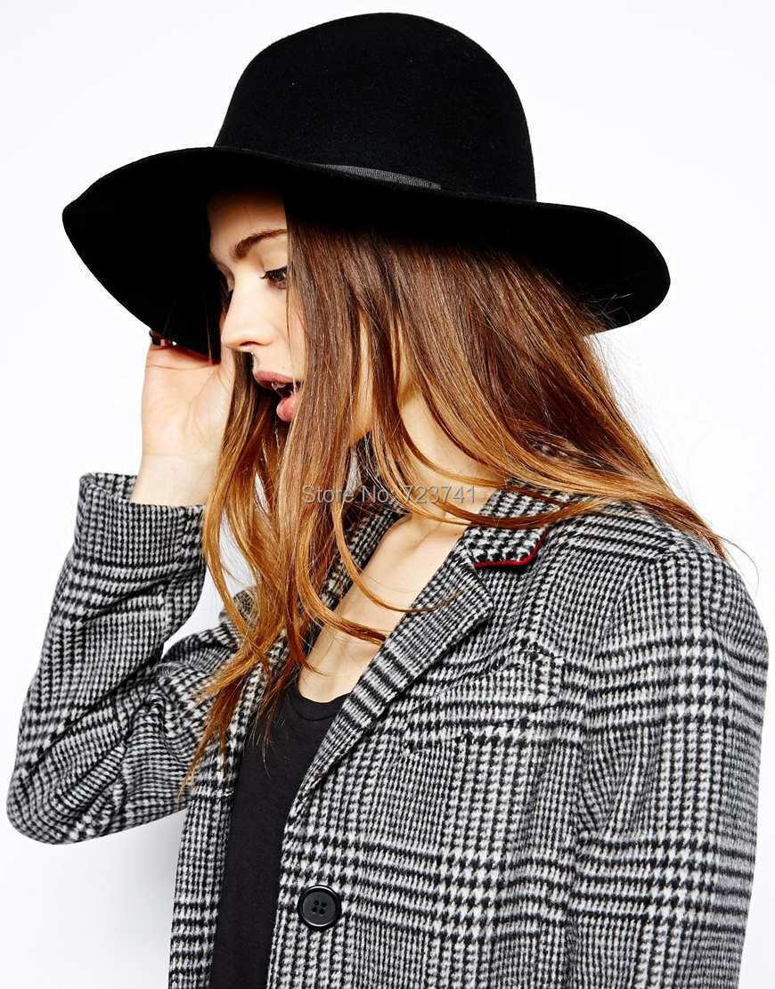 77d47b02c7f 100% Wool Women s Black Fedora felt hats for women-in Sun Hats from Apparel  Accessories on Aliexpress.com